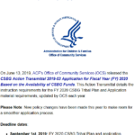 A Picture of the CSBG Action Transmittal Announcement.