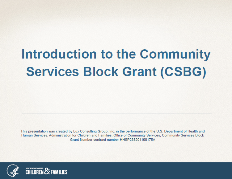 Introduction tothe COmmunity Services Block Grant