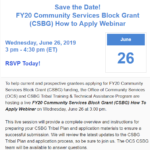 Save the date for FY20 CSBG How to Apply Webinar