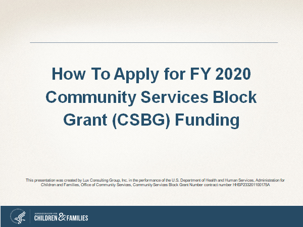 How to Apply for FY 2020 Community Services Block Grant