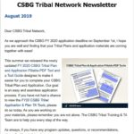 August 2019 CSBG Tribal Network Newsletter - Welcome Article. Colorful border with text